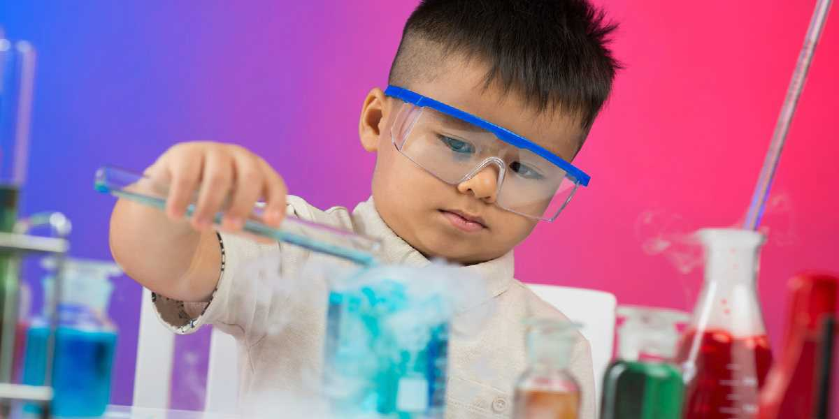 boy conducting a chemical experiment