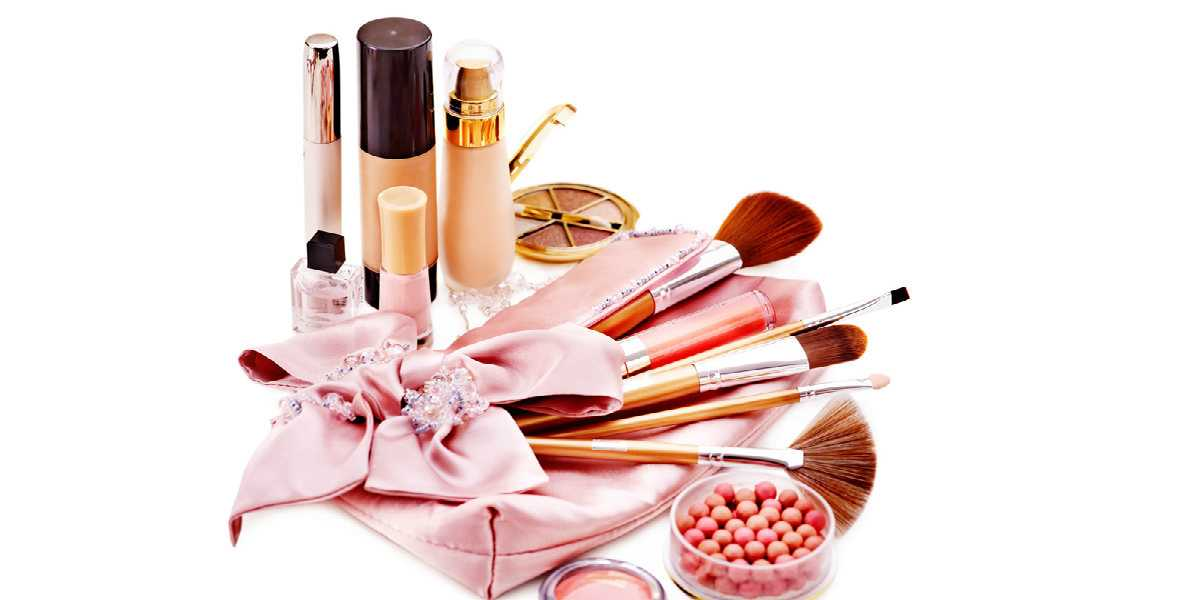 cosmetics and make up brushes