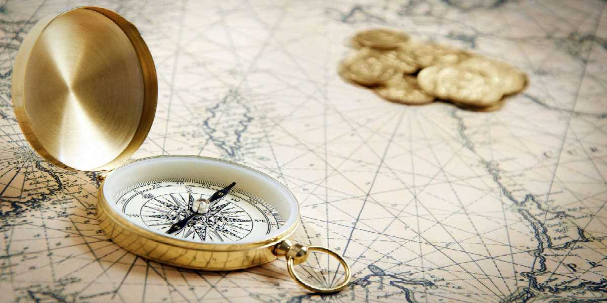 compass, map and coins