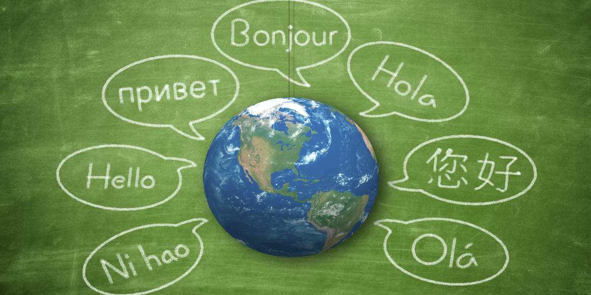 A chalkboard of various languages
