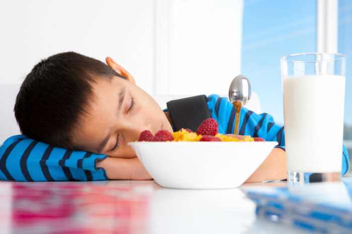 A young boy sleeping at the breakfast table