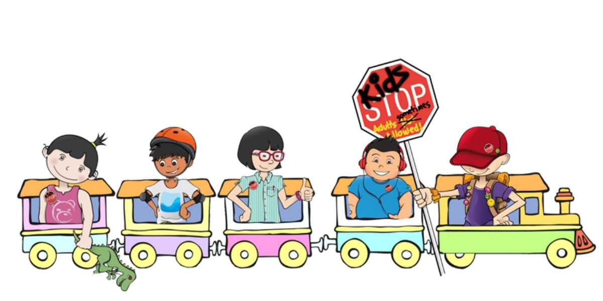 Illustration of kids on a train for kidStop!
