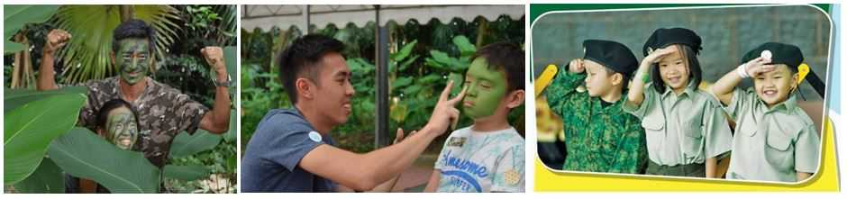 Camouflage face painting and children dressing up in mini SAF uniforms