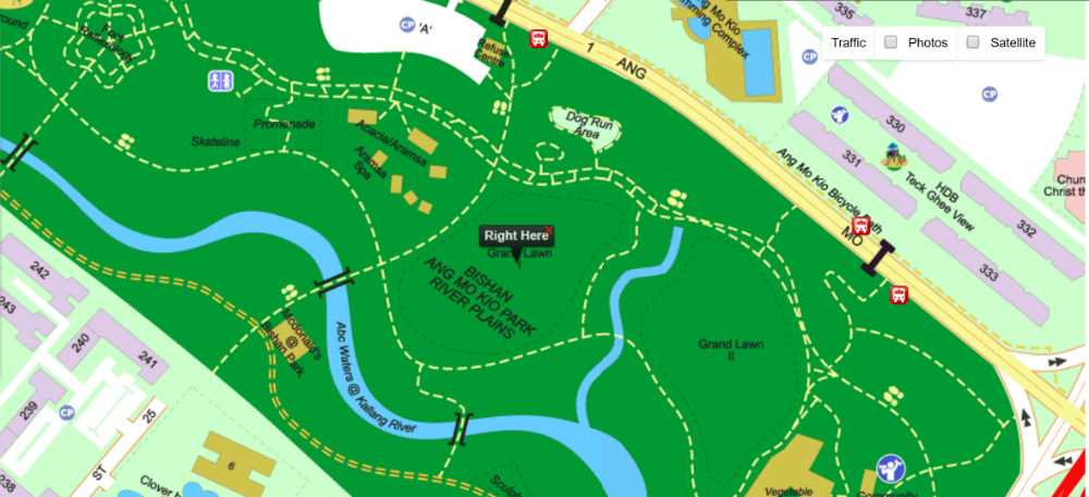 Map to Bishan-AMK Park Fiscus Green